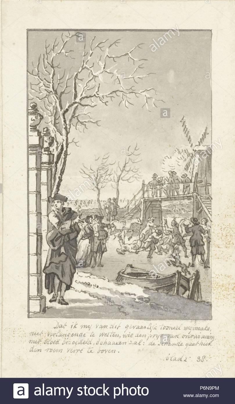 Winter, Reinier Vinkeles, 1769. - Stock Image
