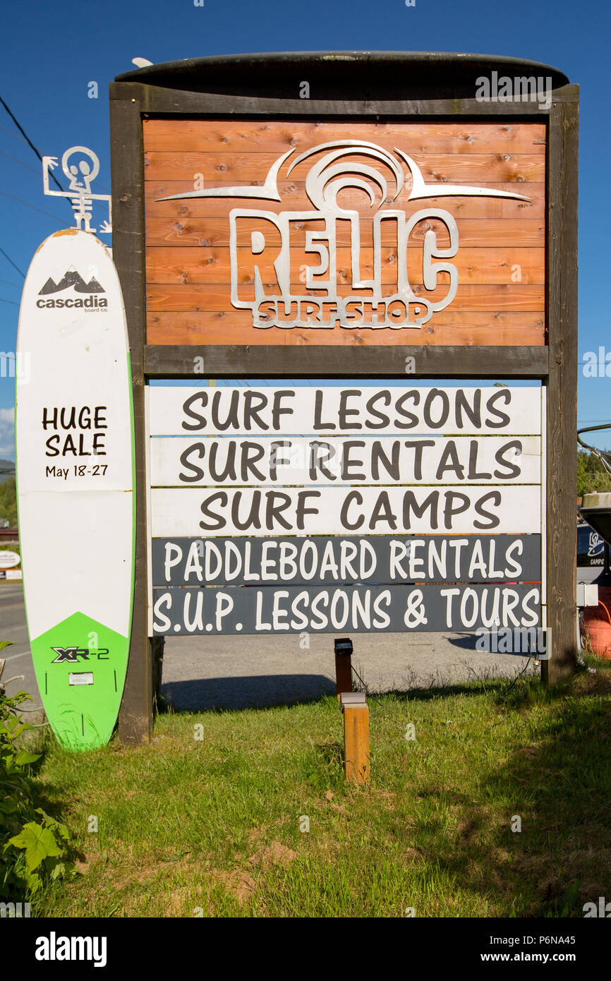 Ucluelet surf shop sign, Vancouver Island,British Columbia. - Stock Image