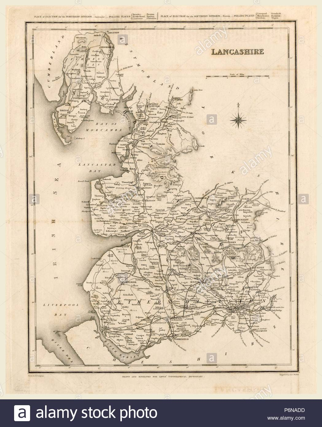 A Topographical Dictionary of England, Lancashire, map, 19th century engraving. - Stock Image