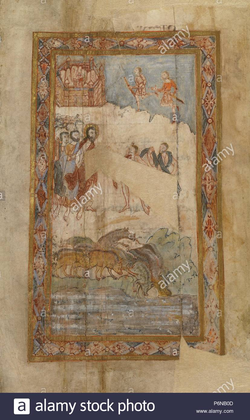 The Miracle of the Gadarene Swine; Unknown; Canterbury (?), England, Europe; about 1000; Tempera colors, gold leaf, and ink on parchment; Leaf [irregularly cut]: 31.3 x 18.1 cm (12 5/16 x 7 1/8 in.). - Stock Image