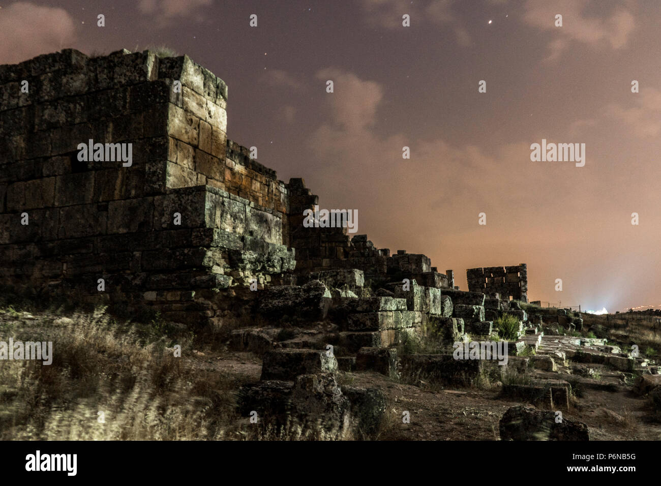 Night Shot of Hierapolis Ruines in Pamukkale. Cotton castle in southwestern Turkey, - Stock Image