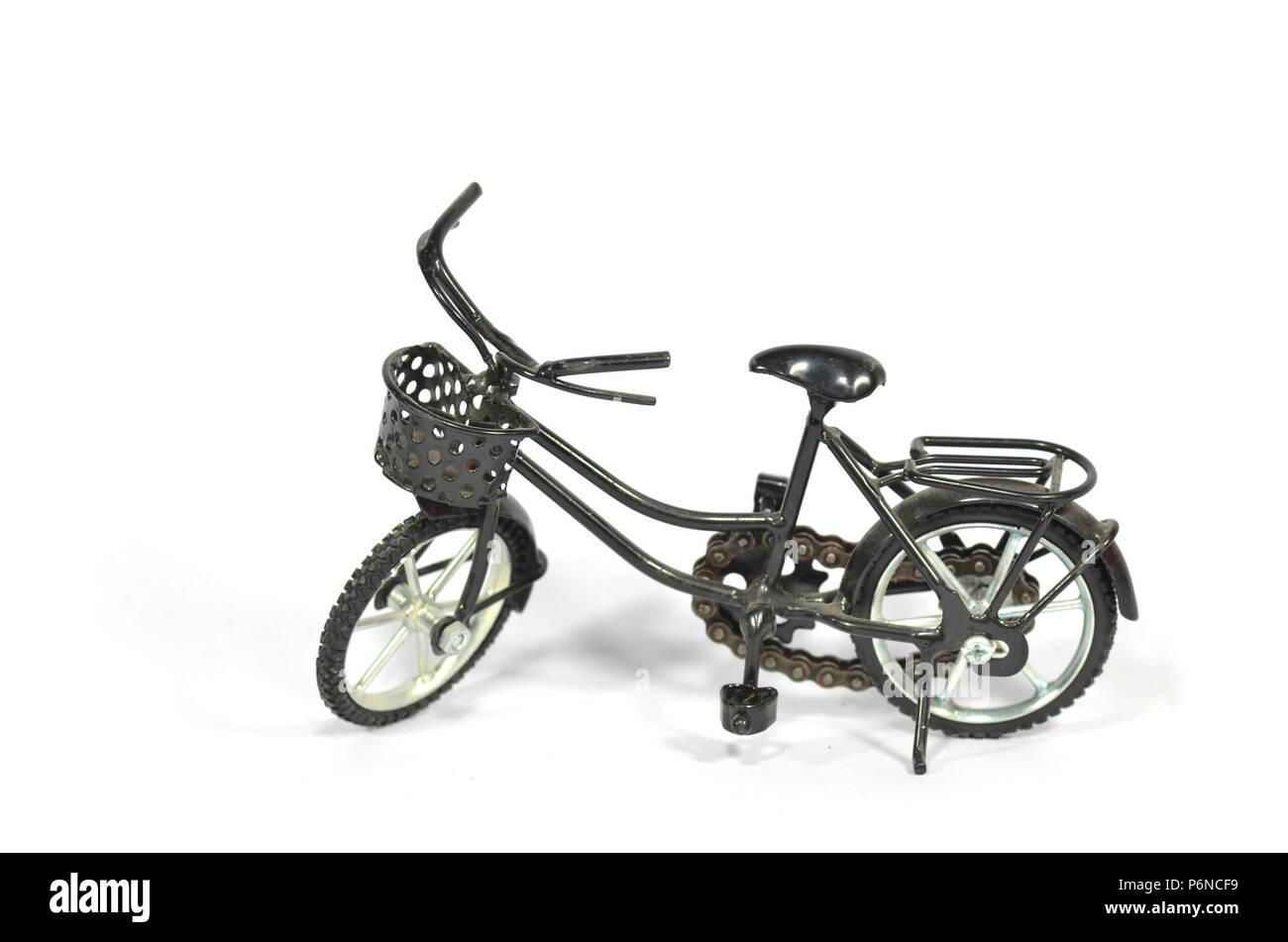 Black cruiser bicycle, isolated on white. - Stock Image