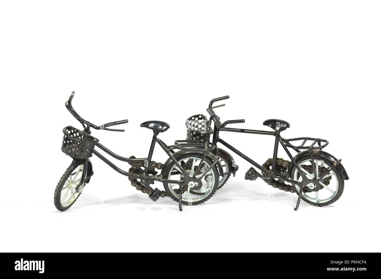 2 black cruiser bicycle, isolated on white. - Stock Image