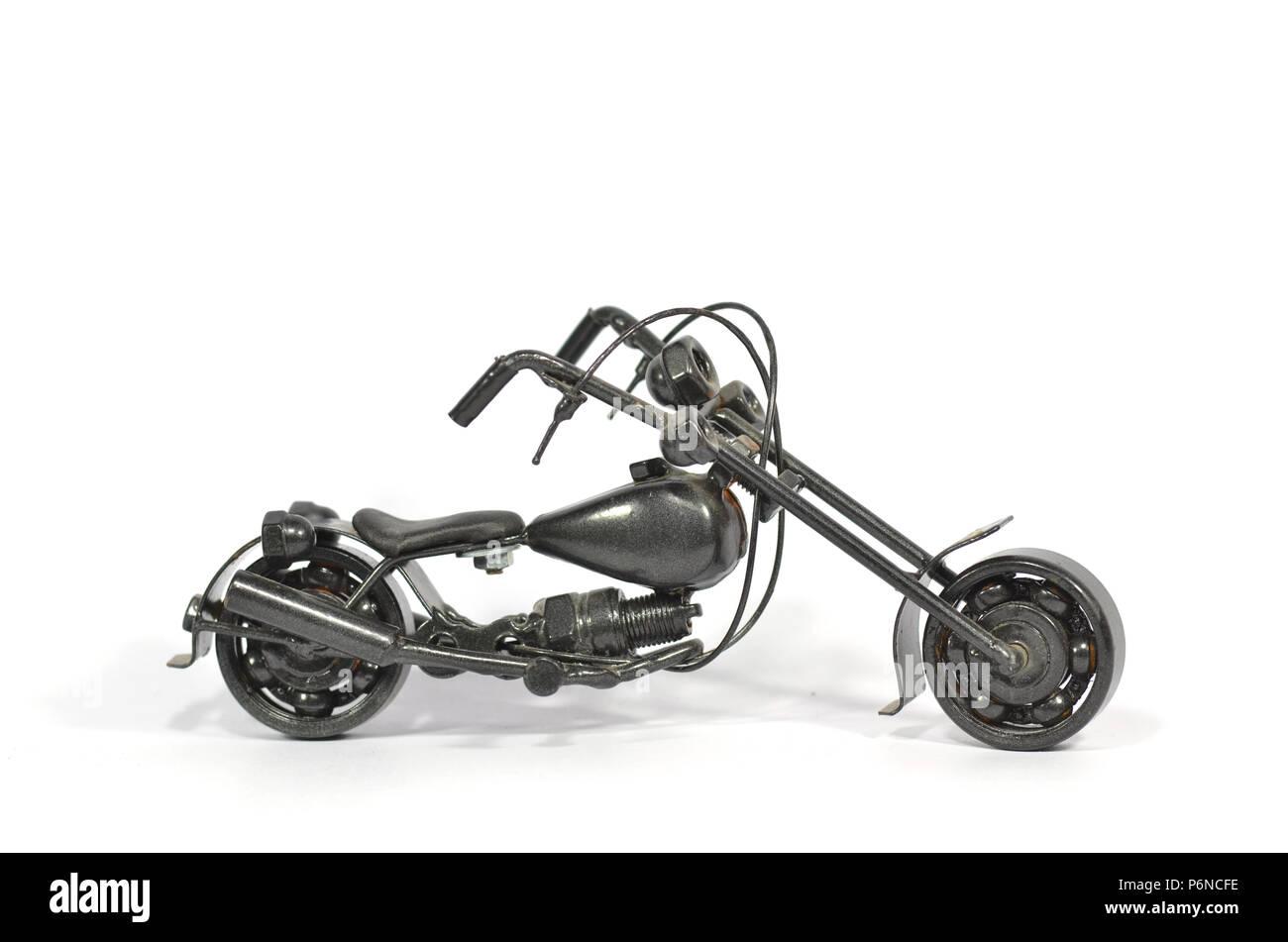 chopper motorcycle , isolated on white. - Stock Image