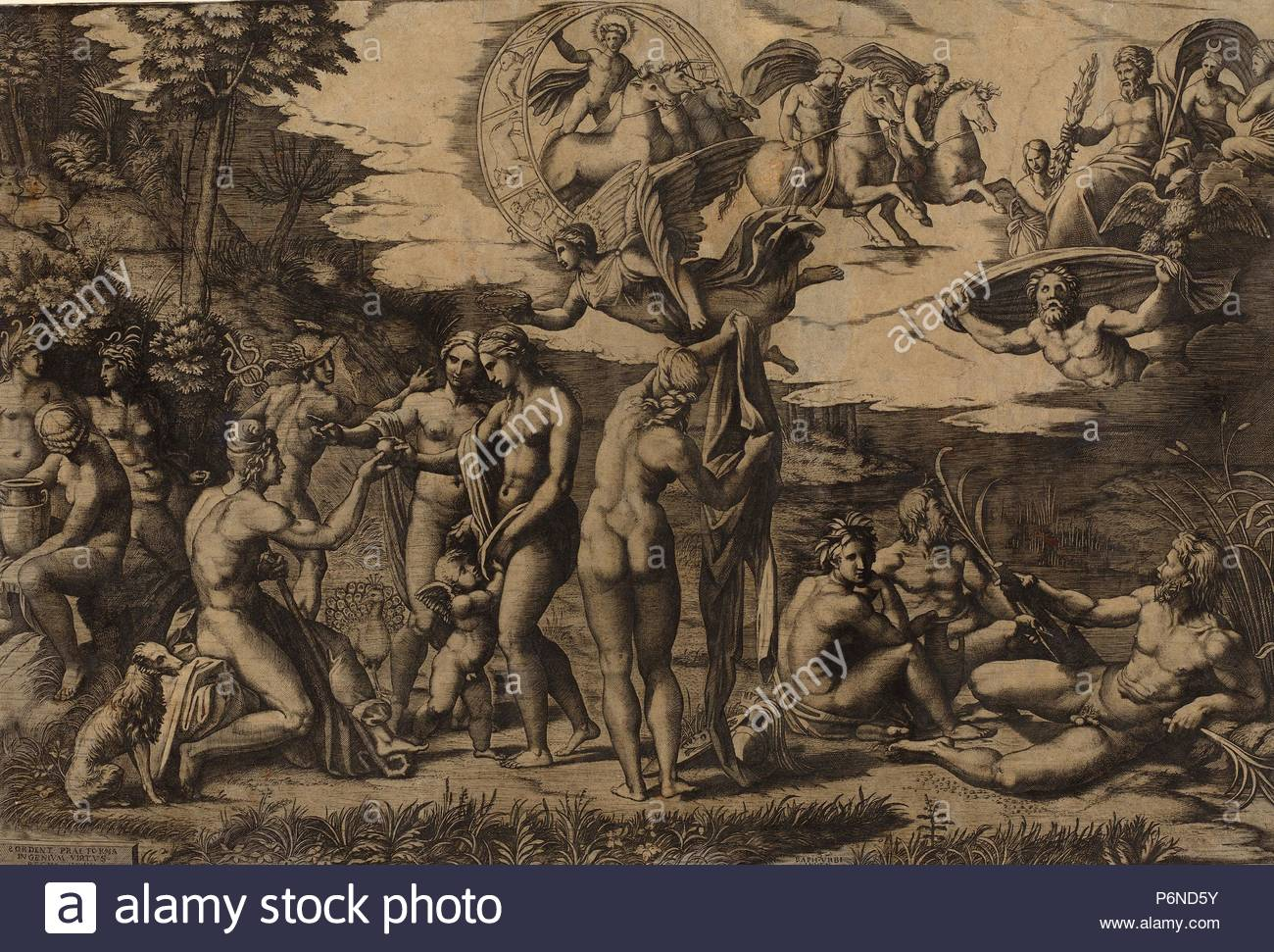 Marcantonio Raimondi after Raphael (Italian, c. 1480 - c. 1534), The  Judgment of Paris, engraving.