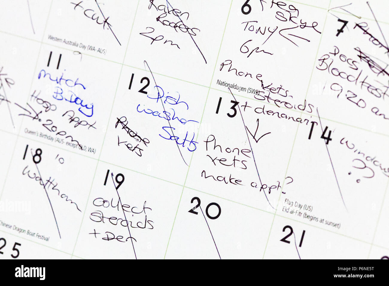 Busy schedule, busy calendar, appointments, things to do, to do list, full calendar, calendar, overworked, schedule, reminder, reminders, appointments Stock Photo