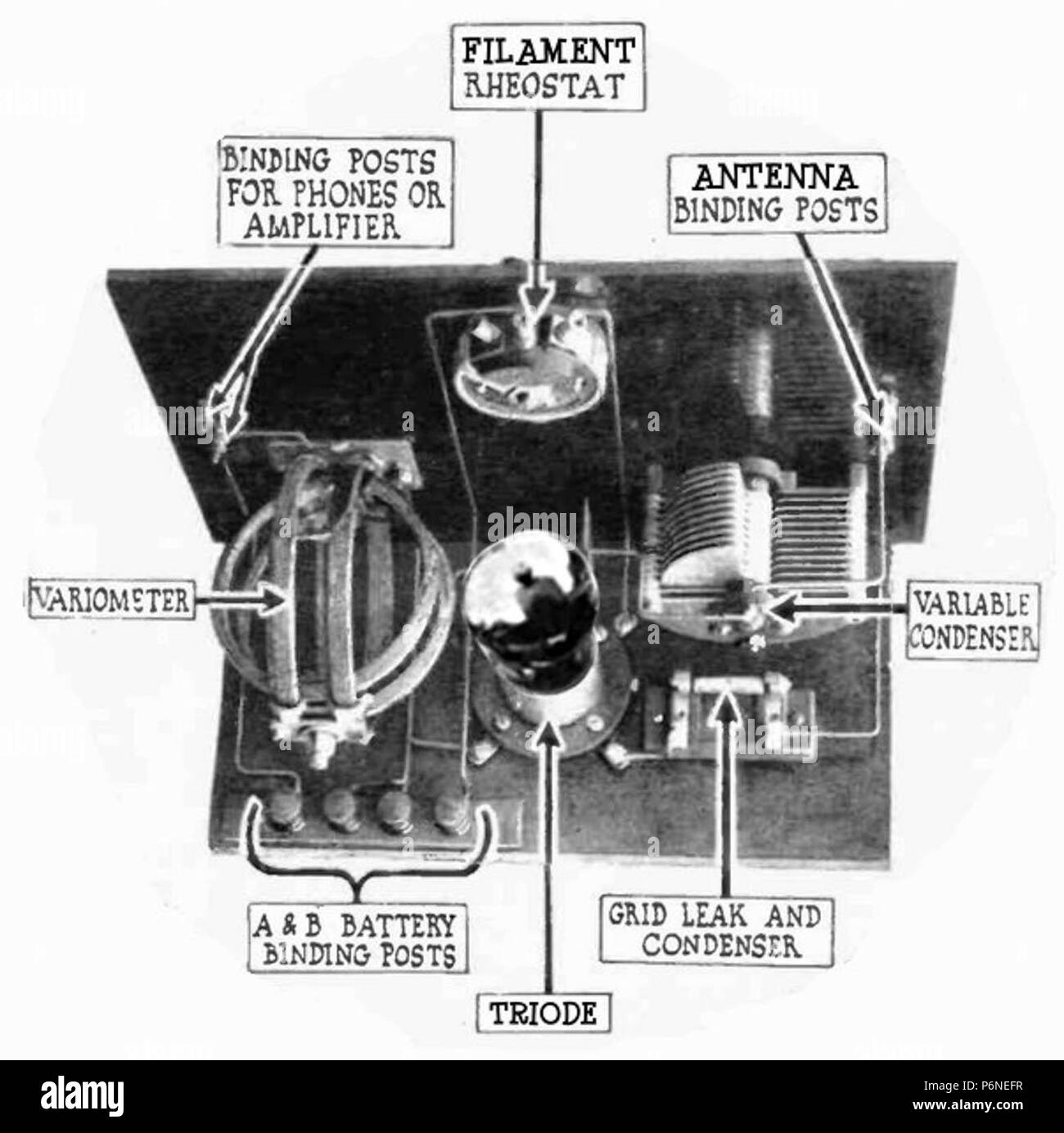 Example of single tube triode grid-leak receiver from 1920, the