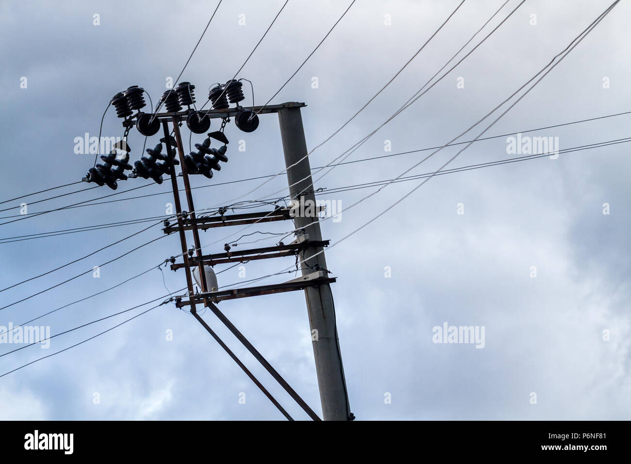 electrical wire support column stock photos \u0026 electrical wire Residential Wiring electric power distribution lines with cement concrete pole stock image