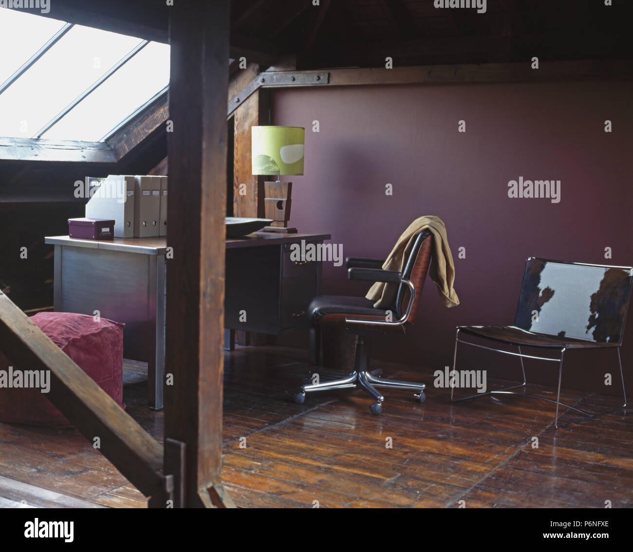 Ponyskin Cushion On Leather Chair In Purple Loft Conversion Study
