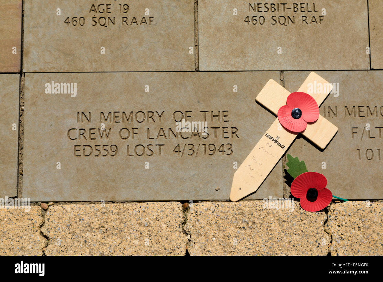 Memorial stone to the crew RAF of Lancaster bomber ED559, lost on a mission, 4 March 1943. International Bomber Command Centre memorial, Canwick Hill, - Stock Image