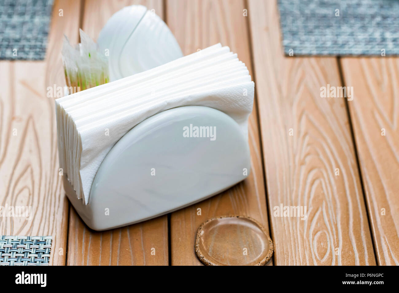 White Napkin Holder On Restaurant Table Stock Photo Alamy