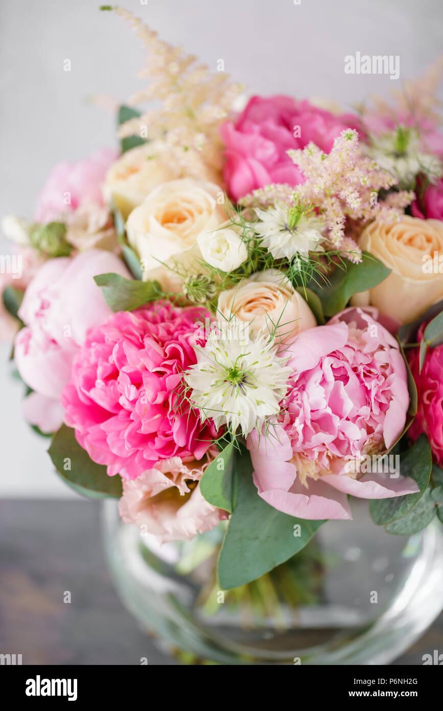 Beautiful Summer Bouquet Flower Arrangement With Peonies Color