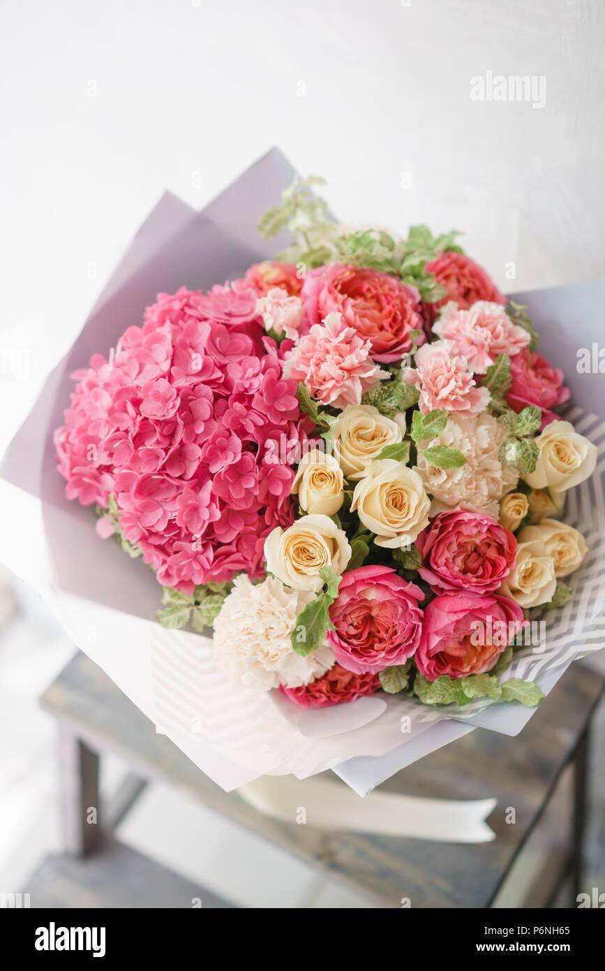 Flower arrangement with hydrangea beautiful summer bouquet color flower arrangement with hydrangea beautiful summer bouquet color light pink the concept of a flower shop mightylinksfo