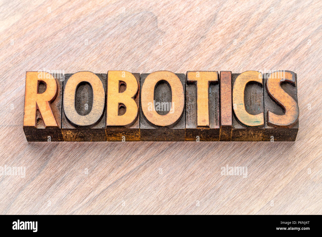 Robotics Word Abstract In Vintage Lettepress Wood Type Printing