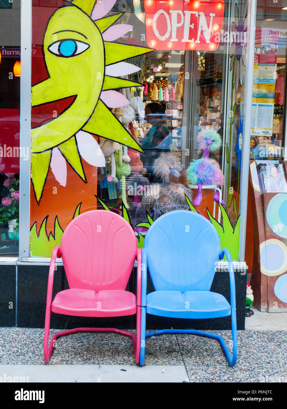 Colorful Store Front And Chairs Rochester Minnesota Stock Photo