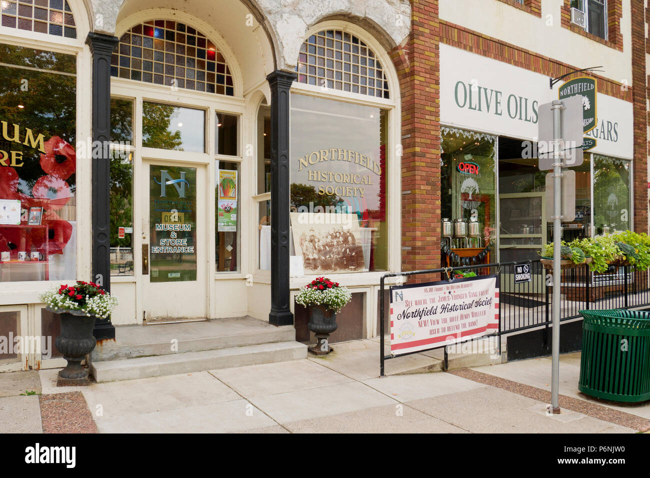 Northfield Historical Society, Scriver Building. Northfield, Minnesota, site of failed James Younger Gang bank robery. - Stock Image