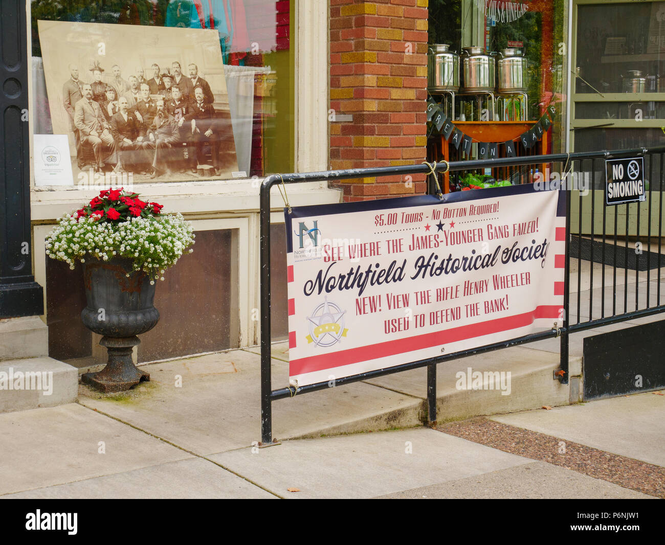 Sign promoting historical tour, James-Younger Gang bank robbery, Northfiield, Minssesota. - Stock Image