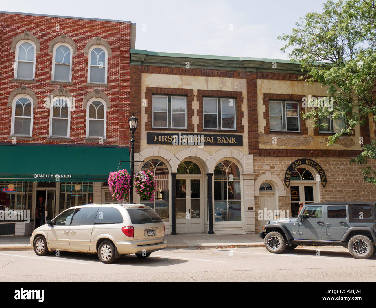 First National Bank, Northfield, Minnesota. Site of James/Younger gang's failed robbery attempt. - Stock Image