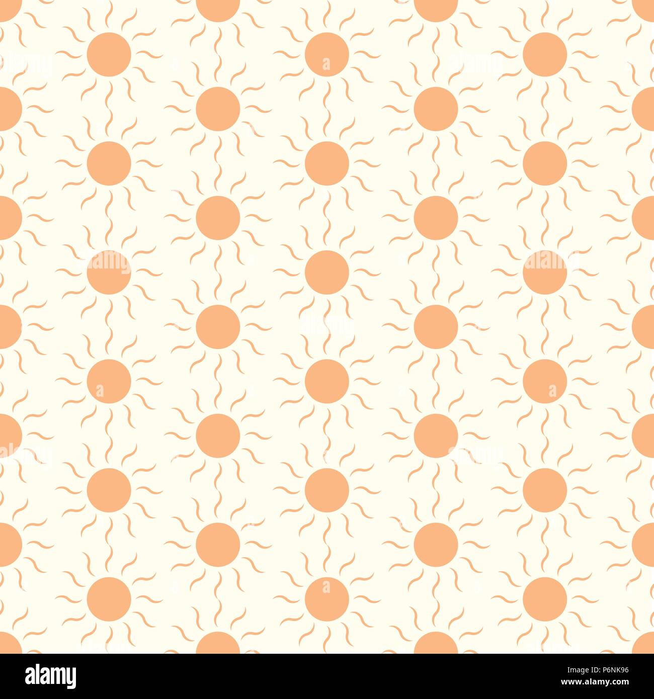 Orange Sun shape seamless pattern on pastel color. Circle and swirl in sweet style for abstract or graphic design - Stock Vector