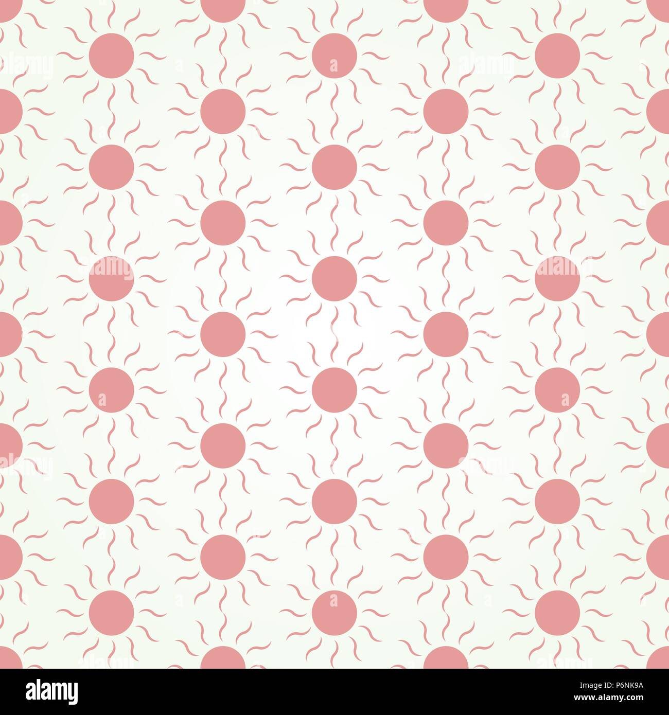 Red Sun shape seamless pattern on pastel color. Circle and swirl in sweet style for abstract or graphic design - Stock Vector