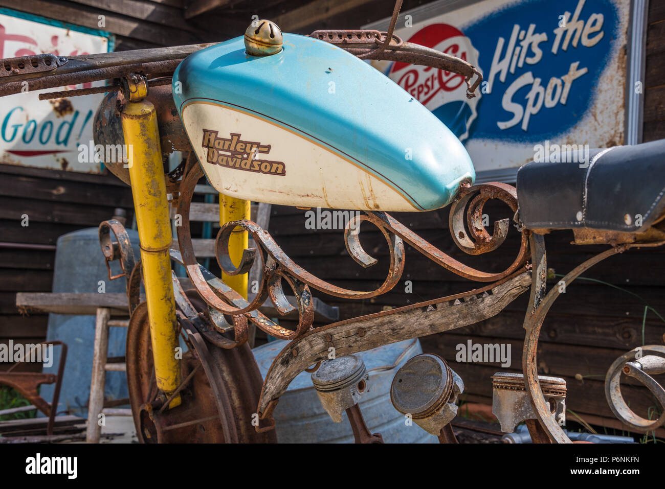 Vintage folk art Harley-Davidson motorcycle at Crazy Mule Arts & Antiques in Lula, Georgia, in the foothills of the Blue Ridge Mountains. (USA) - Stock Image