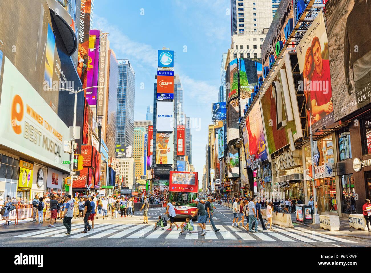 New York, USA- August 14, 2017 :  Times Square-central and main square of New York. Street, cars, people and tourists on it. - Stock Image