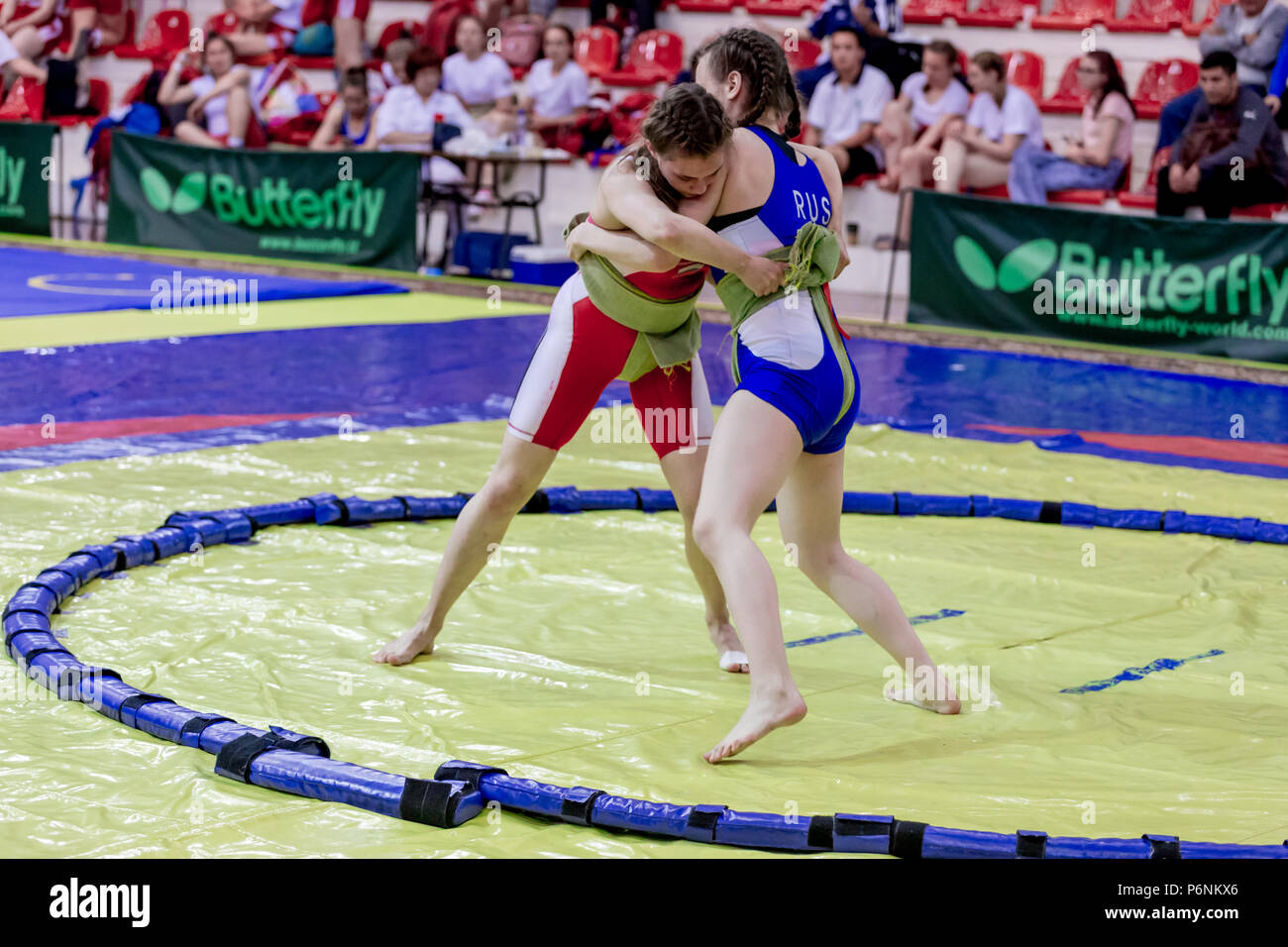 Russia, Vladivostok, 06/30/2018. Sumo wrestling competition among girls  born in 2003-2004. Teenage tournaments of martial arts and fighting sports.