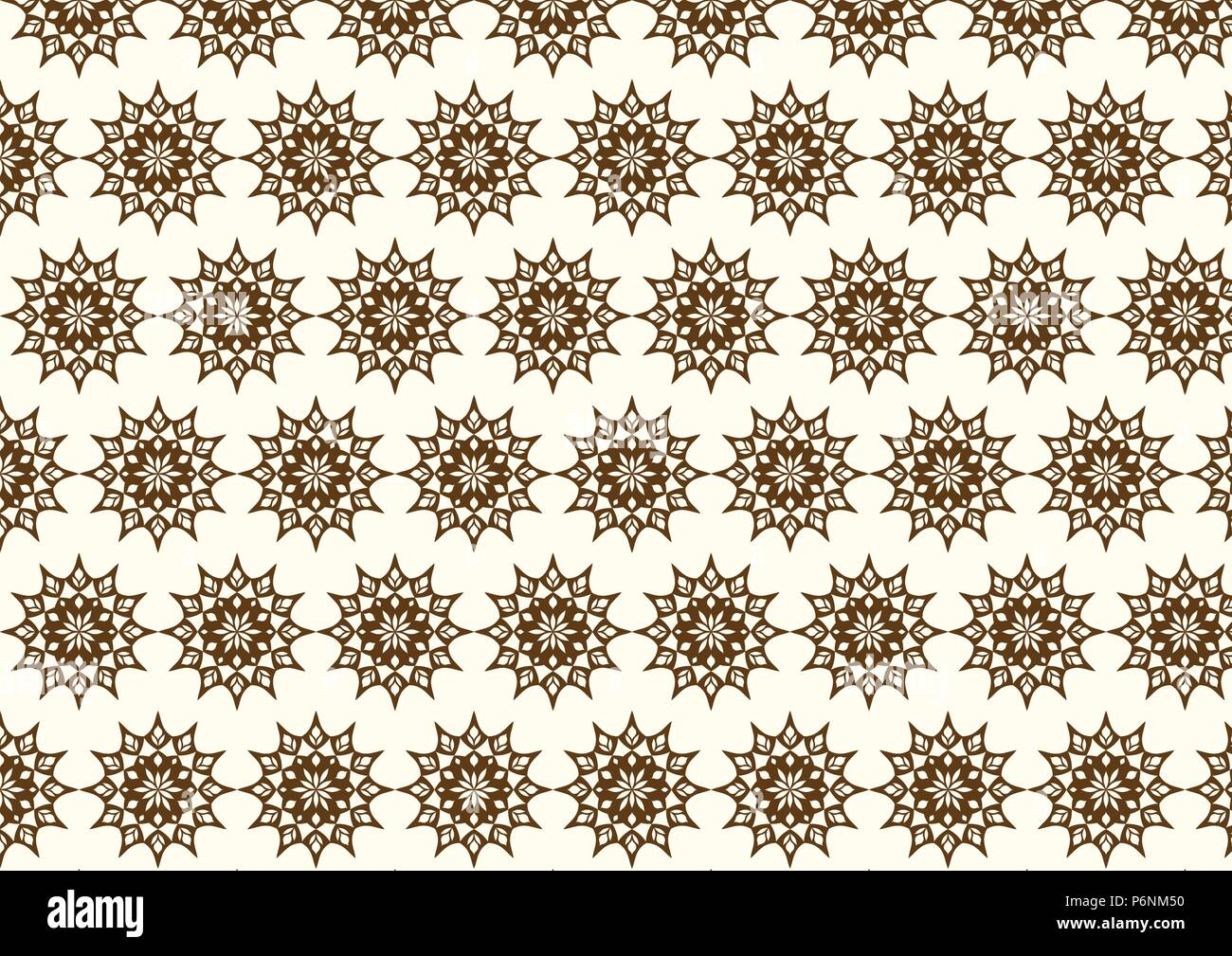 Brown vintage flower and modern shape and lobe pattern on pastel background. Classic blossom pattern style for old and ancient design - Stock Vector