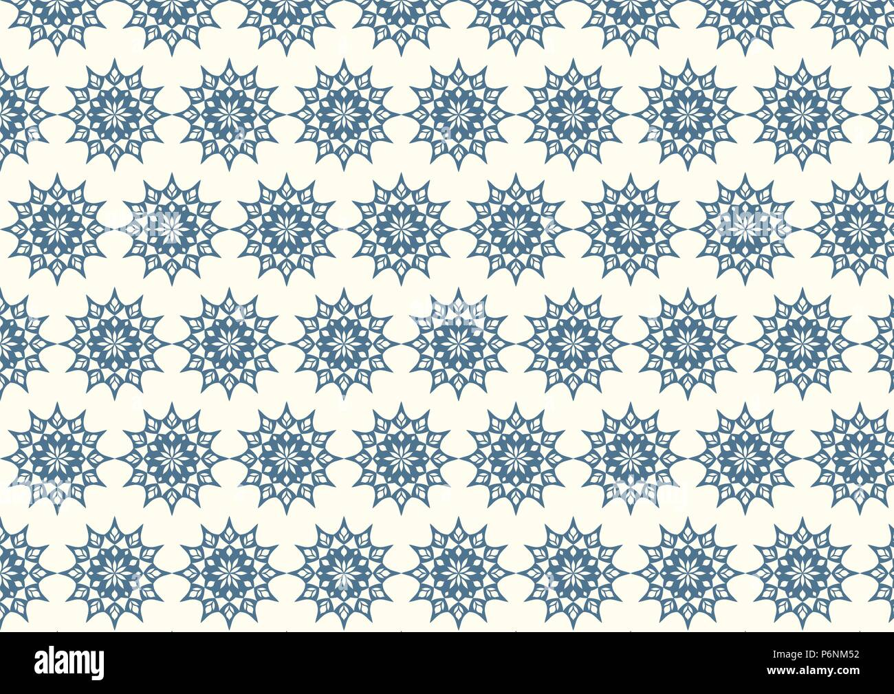 Dark blue vintage flower and modern shape and lobe pattern on pastel background. Classic blossom pattern style for old and ancient design - Stock Vector