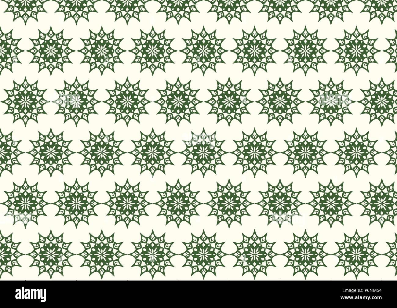 Dark green vintage flower and modern shape and lobe pattern on pastel background. Classic blossom pattern style for old and ancient design - Stock Vector