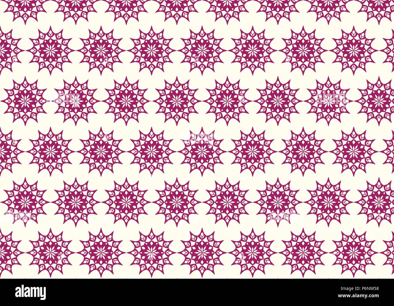 Dark purple vintage flower and modern shape and lobe pattern on pastel background. Classic blossom pattern style for old and ancient design - Stock Vector