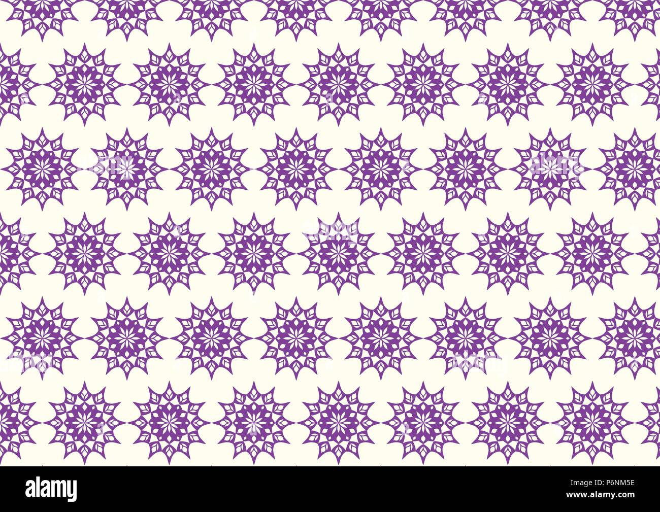 Violet vintage flower and modern shape and lobe pattern on pastel background. Classic blossom pattern style for old and ancient design - Stock Vector