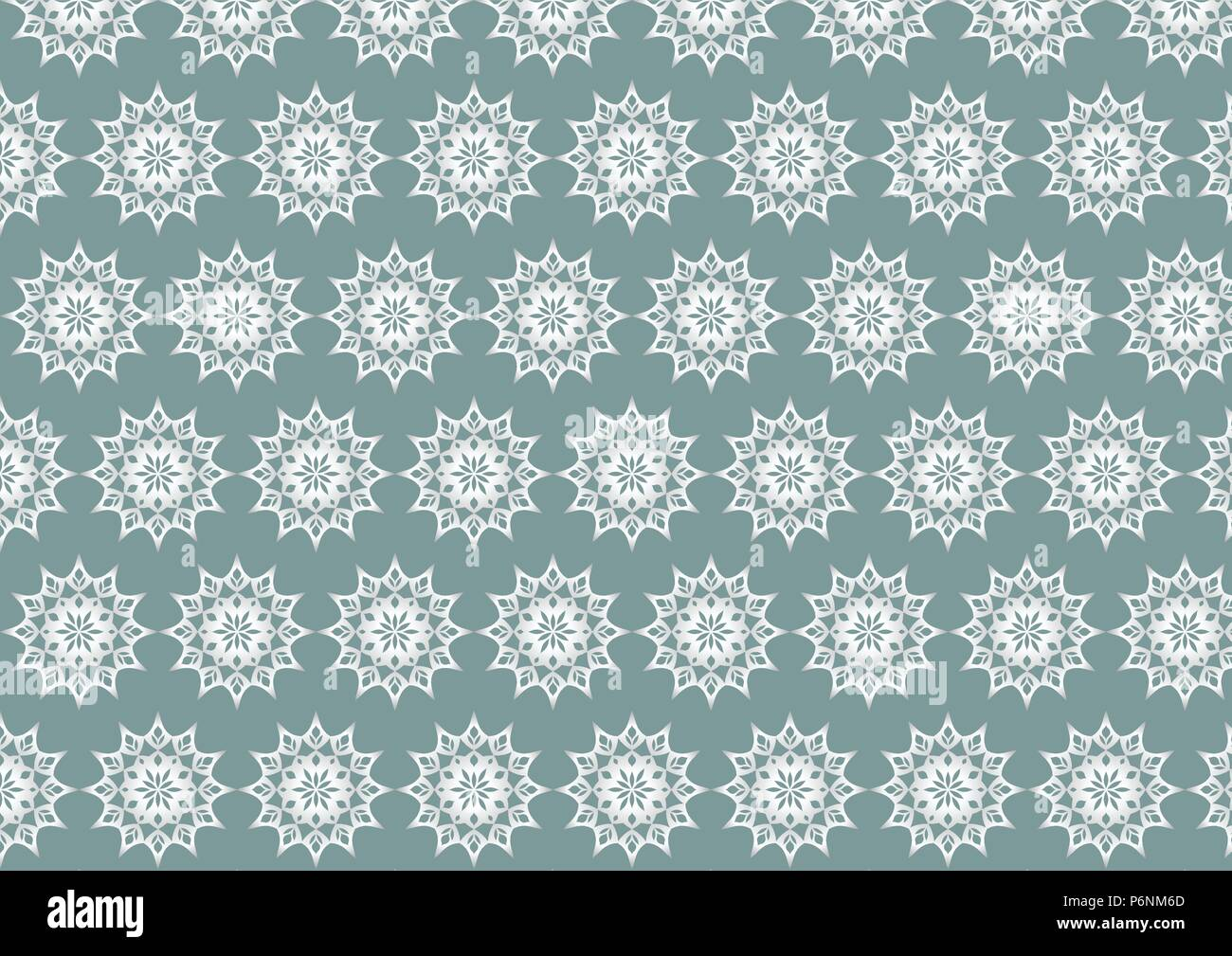 Silver vintage flower and modern shape and lobe pattern on pastel background. Classic blossom pattern style for old and ancient design - Stock Vector