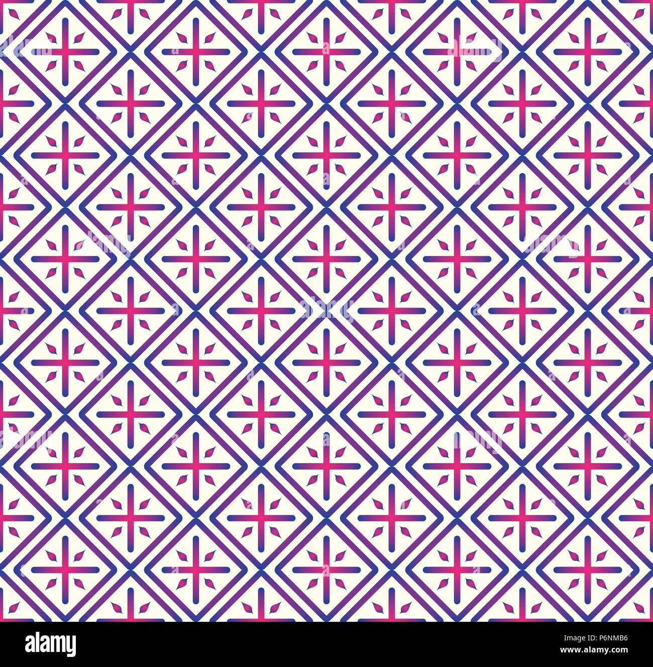 Blue Plus sign and rectangle shape seamless pattern. Abstract pattern style for graphic or modern design. - Stock Vector