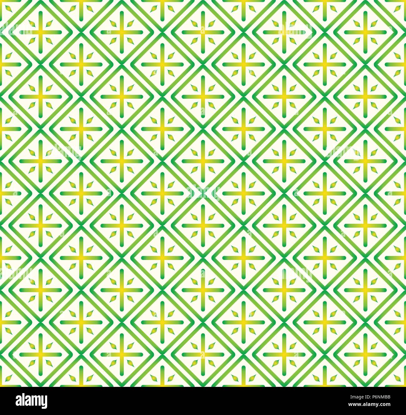 Green Plus sign and rectangle shape seamless pattern. Abstract pattern style for graphic or modern design. - Stock Vector