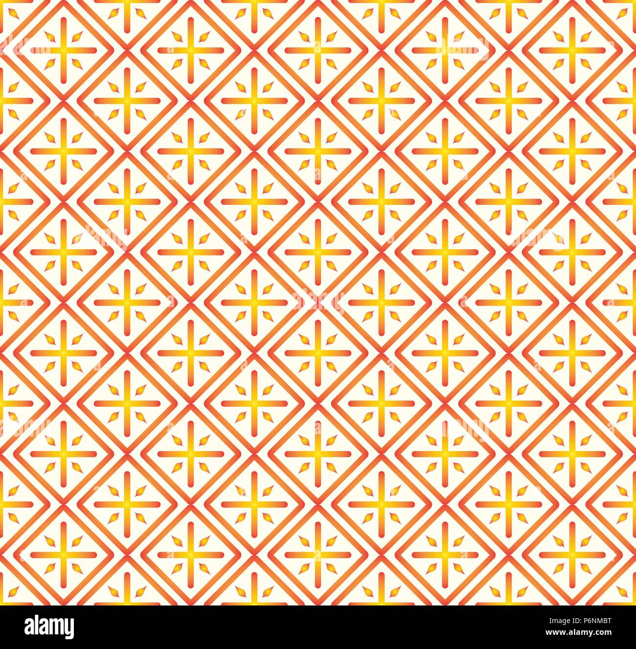 Orange Plus sign and rectangle shape seamless pattern. Abstract pattern style for graphic or modern design. - Stock Vector