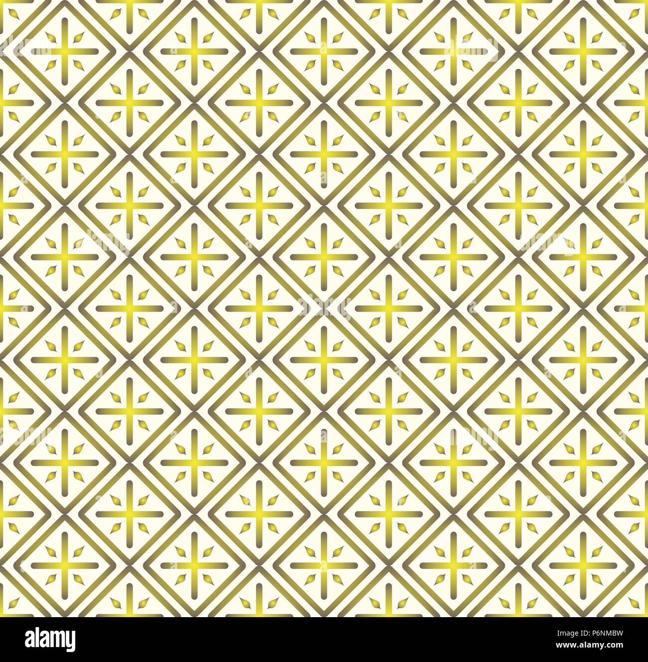 Yellow Plus sign and rectangle shape seamless pattern. Abstract pattern style for graphic or modern design. - Stock Vector