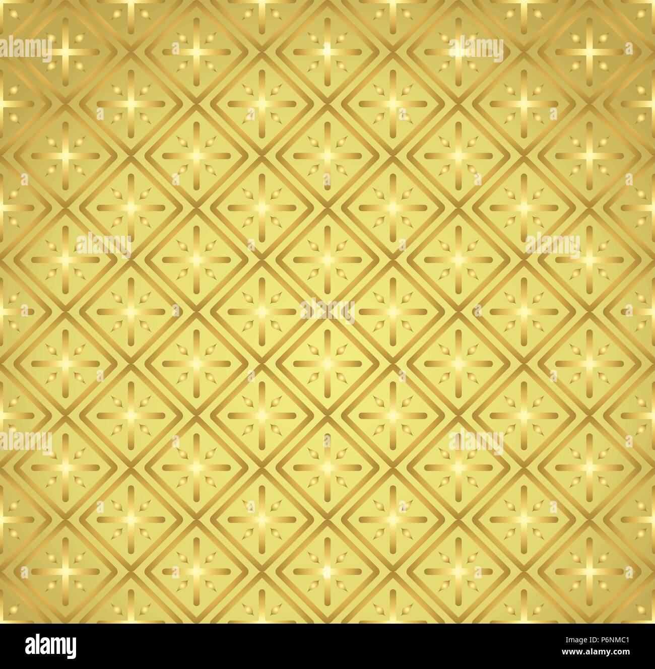 Gold Plus sign and rectangle shape seamless pattern. Abstract pattern style for graphic or modern design. - Stock Vector