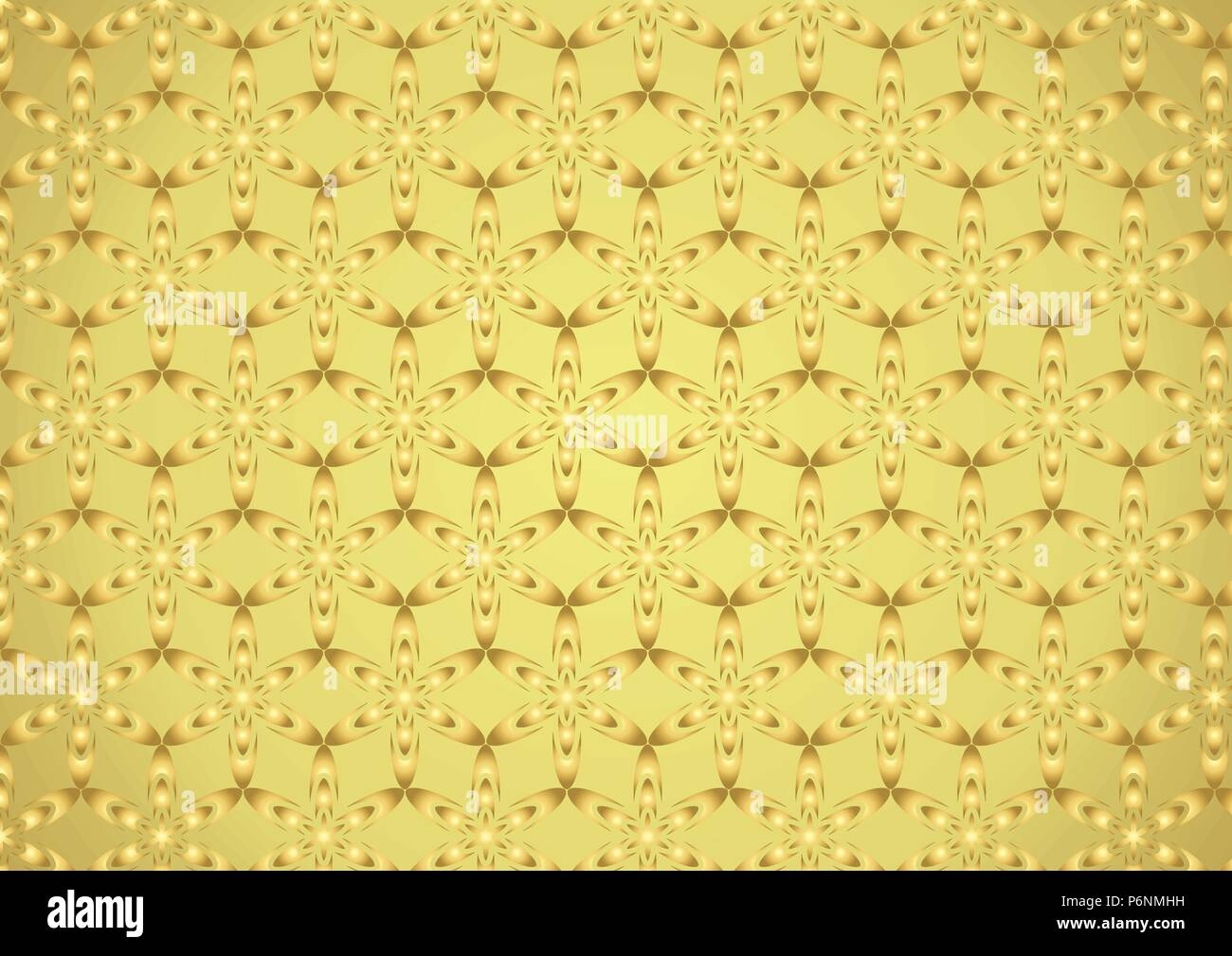 Gold Graphic flower in modern shape pattern on pastel background. Sweet and classic pattern style for vintage or cute design Stock Vector