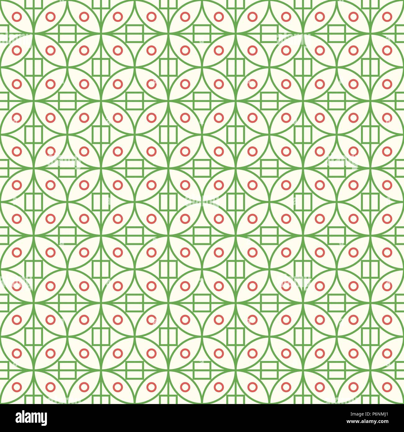 Green sweet circle and square on pastel background. Abstract seamless pattern style for modern or abstract design. Stock Vector