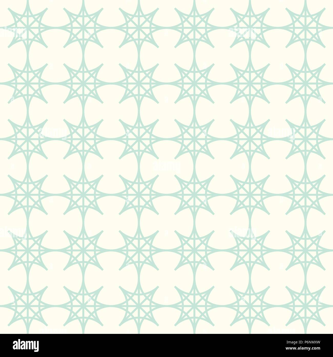 Green four angle star seamless pattern on pastel background. Abstract star pattern in modern and vintage style for design. - Stock Vector