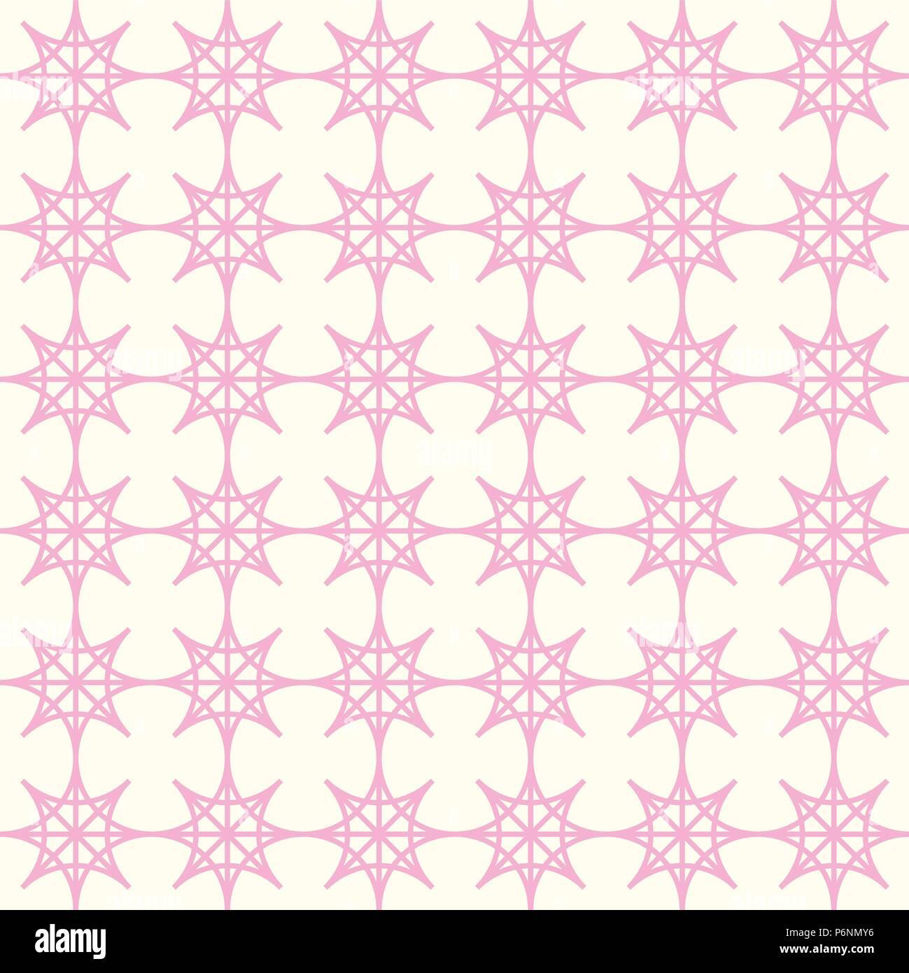 Pink four angle star seamless pattern on pastel background. Abstract star pattern in modern and vintage style for design. - Stock Vector