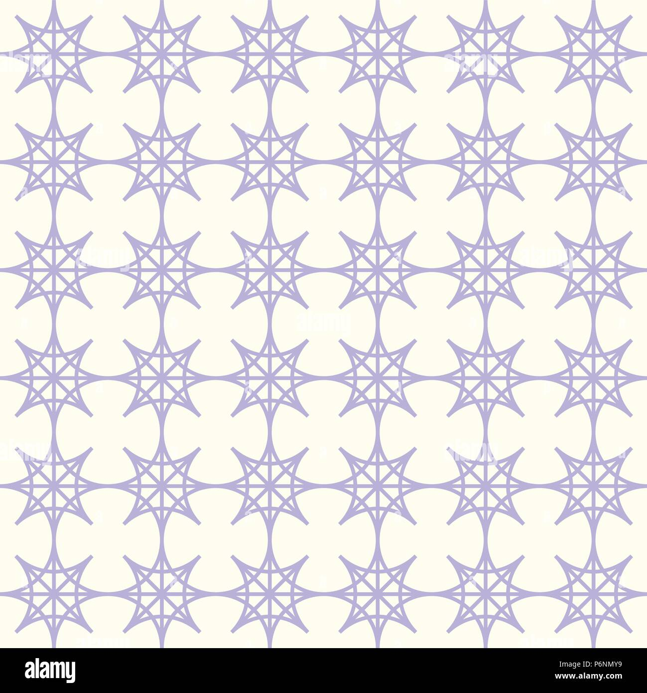 Purple four angle star seamless pattern on pastel background. Abstract star pattern in modern and vintage style for design. - Stock Vector