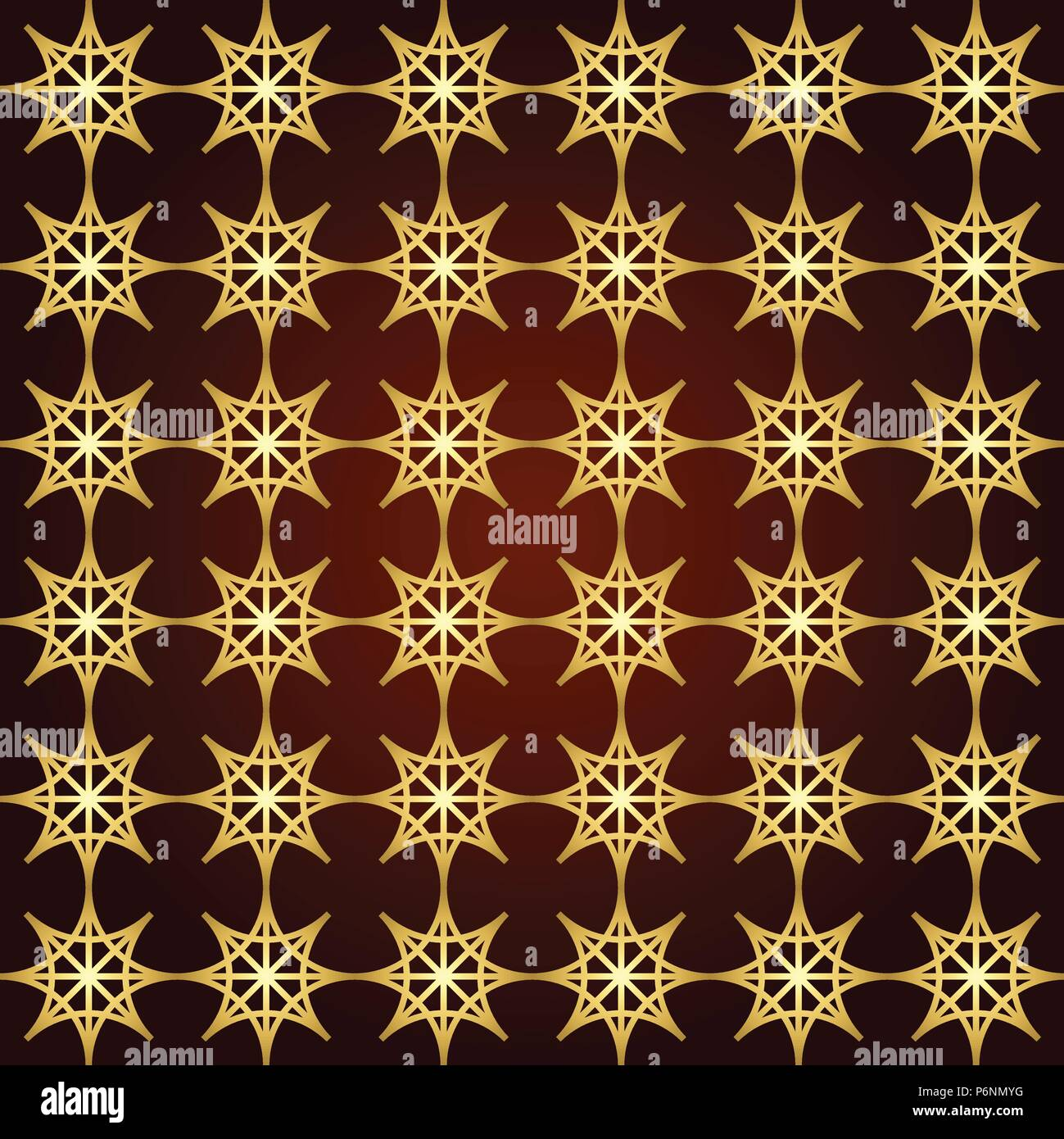 Gold four angle star seamless pattern on pastel background. Abstract star pattern in modern and vintage style for design. - Stock Vector