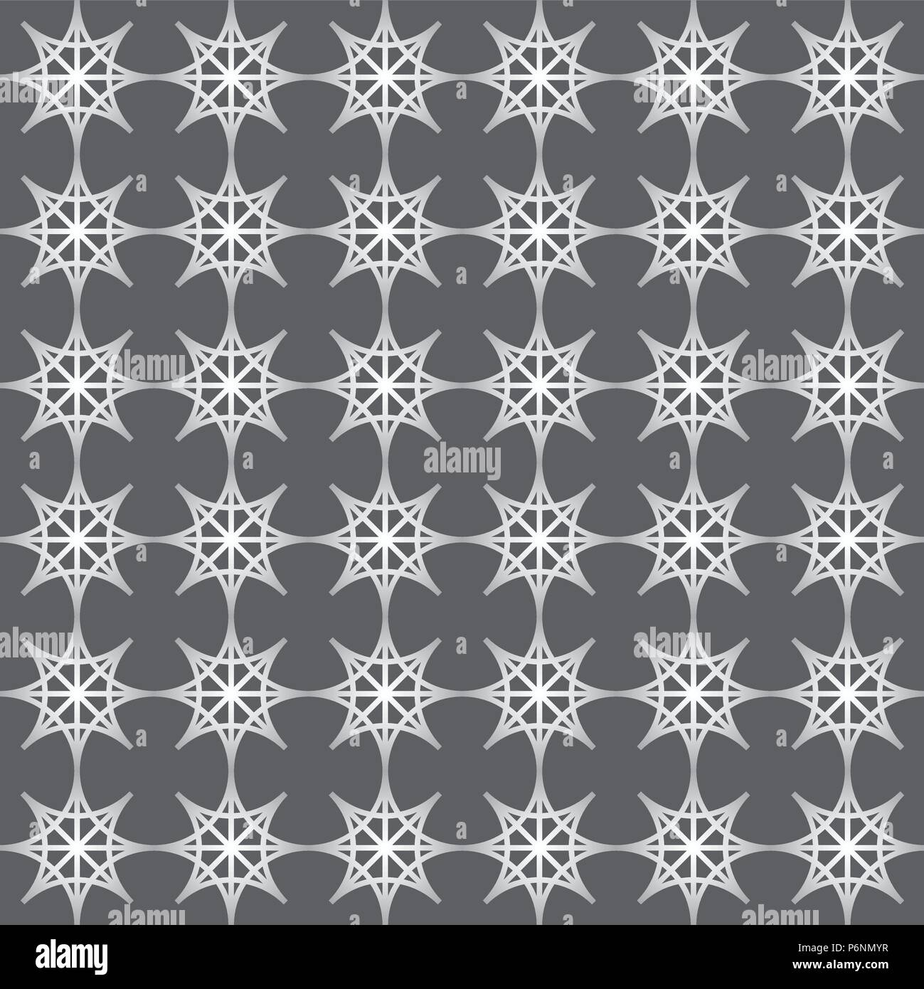 Silver four angle star seamless pattern on pastel background. Abstract star pattern in modern and vintage style for design. - Stock Vector