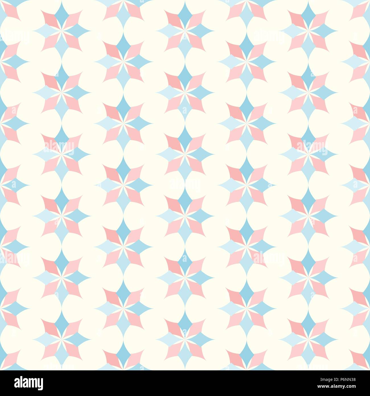 Light Pink and Blue modern classic bloom seamless pattern. Abstract blossom style for graphic and retro design. - Stock Vector