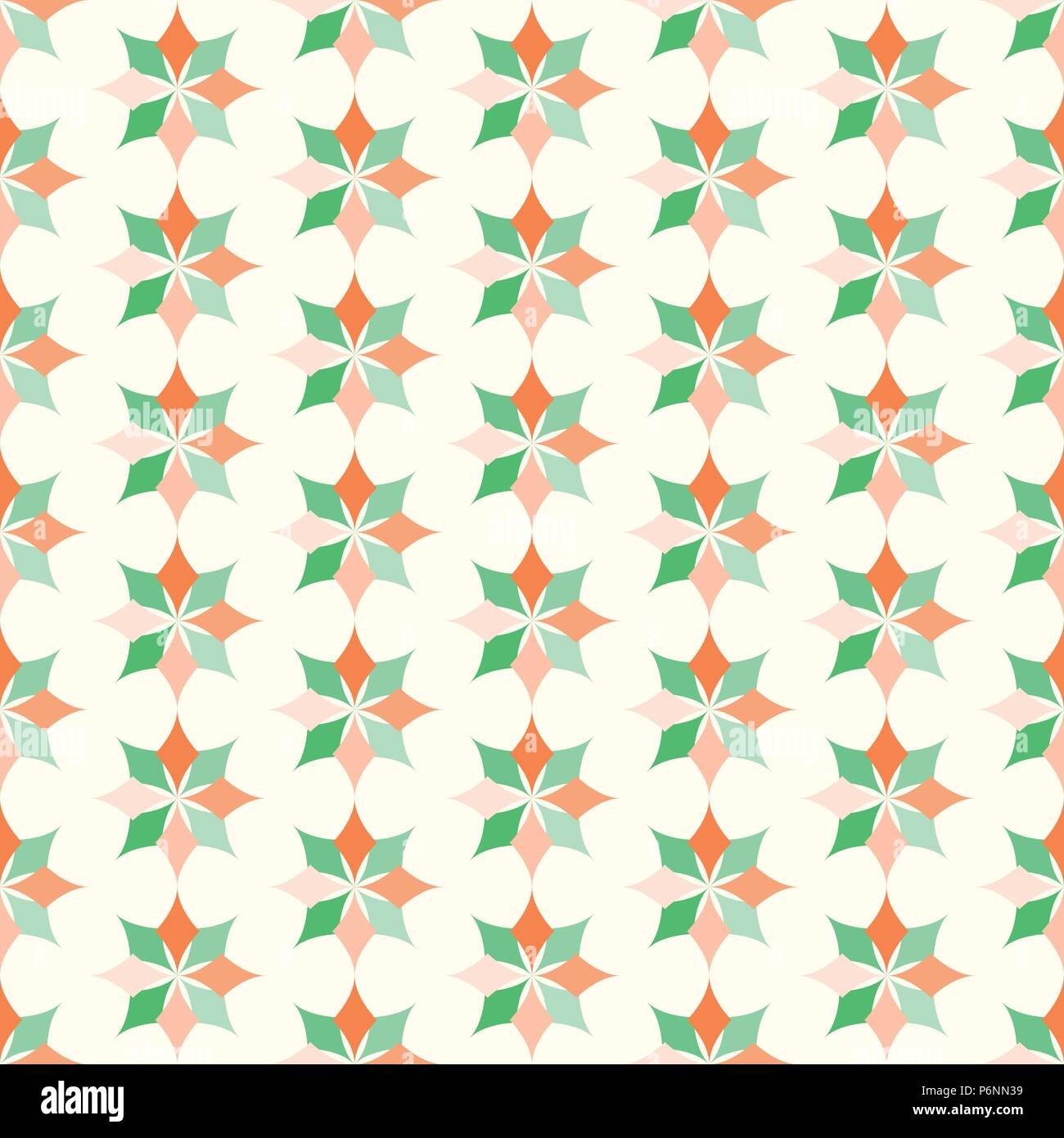 Orange and green modern classic bloom seamless pattern. Abstract blossom style for graphic and retro design. - Stock Vector