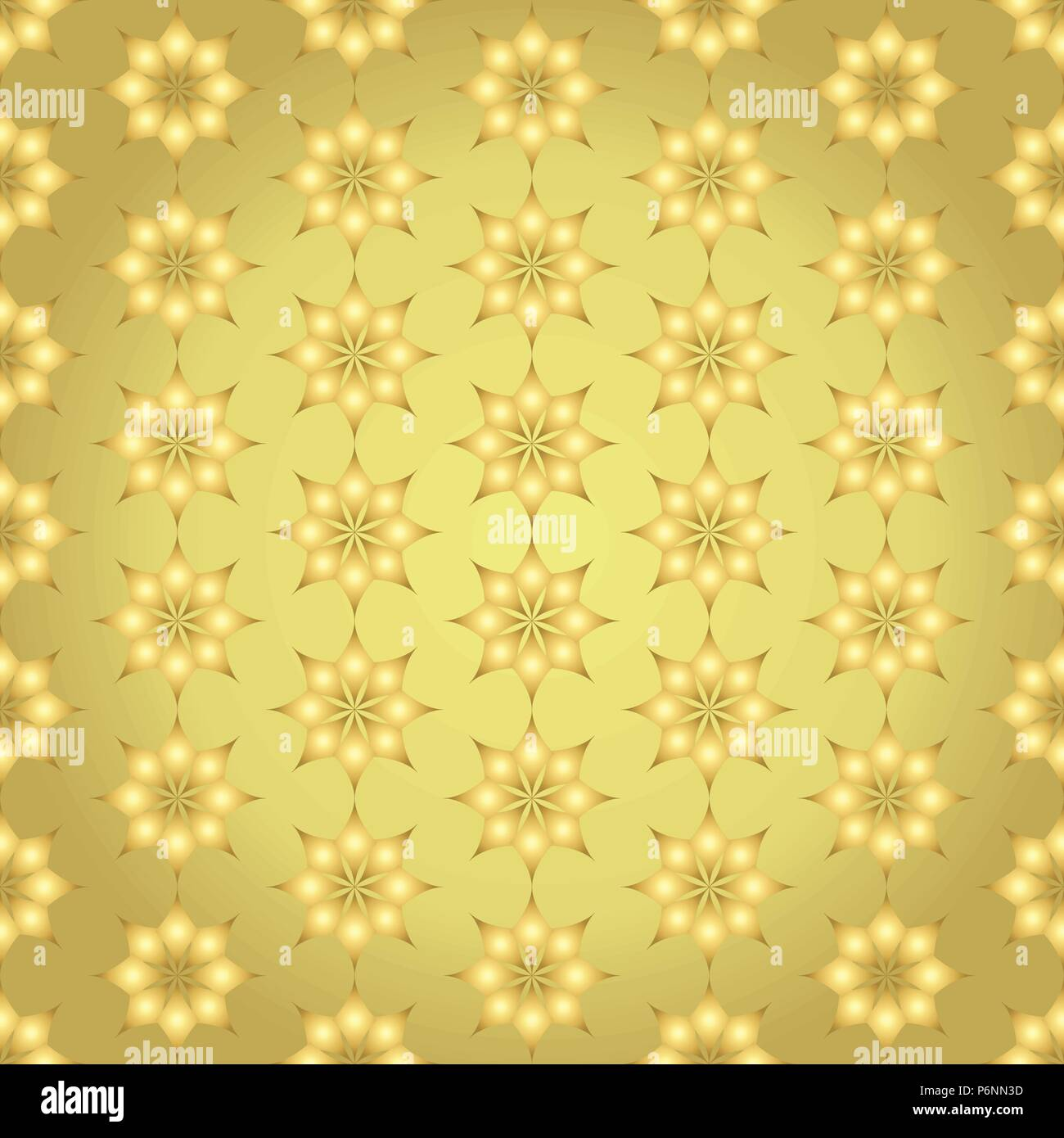 Gold modern classic bloom seamless pattern. Abstract blossom style for graphic and retro design. - Stock Vector