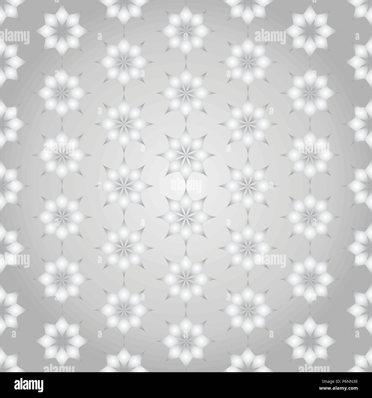 Silver modern classic bloom seamless pattern. Abstract blossom style for graphic and retro design. - Stock Vector