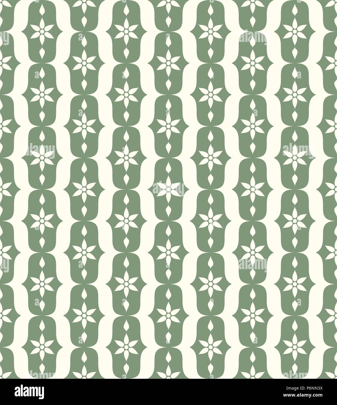 Green vintage blossom and lobe pattern on pastel background. Retro bloom seamless pattern for ancient or old design - Stock Vector